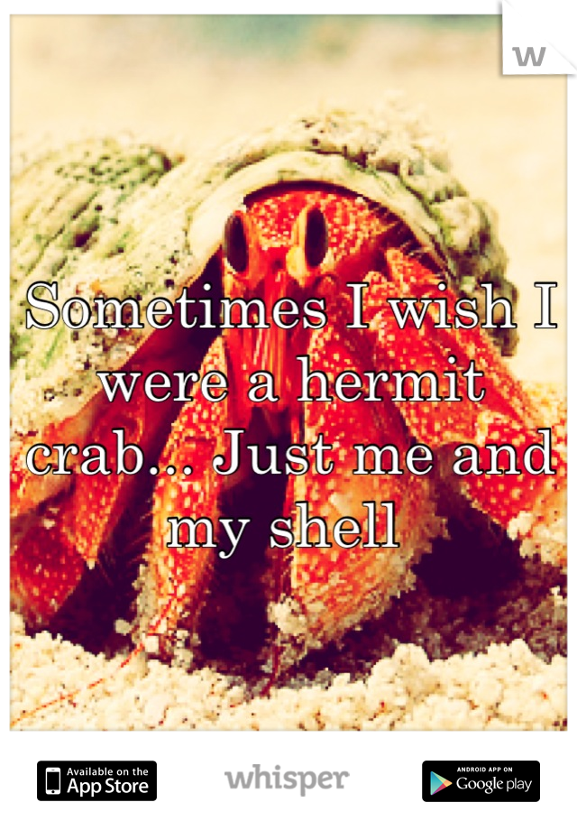 Sometimes I wish I were a hermit crab... Just me and my shell