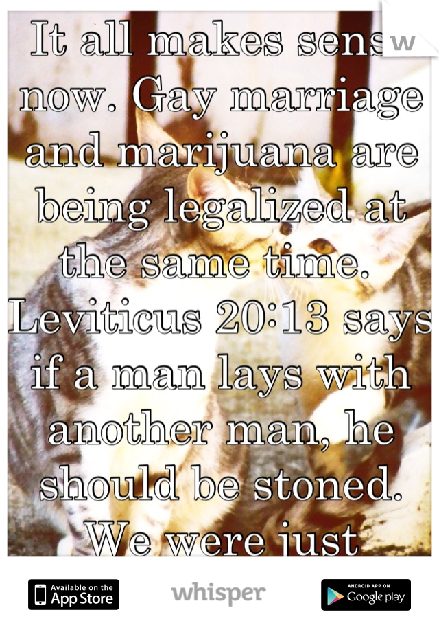 It all makes sense now. Gay marriage and marijuana are being legalized at the same time. Leviticus 20:13 says if a man lays with another man, he should be stoned.We were just misinterpreting it.