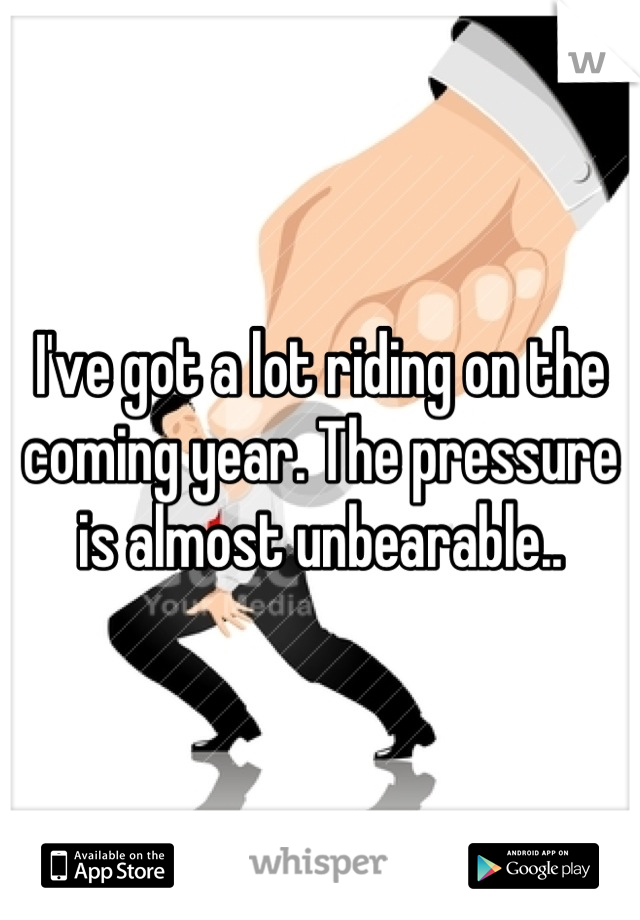 I've got a lot riding on the coming year. The pressure is almost unbearable..