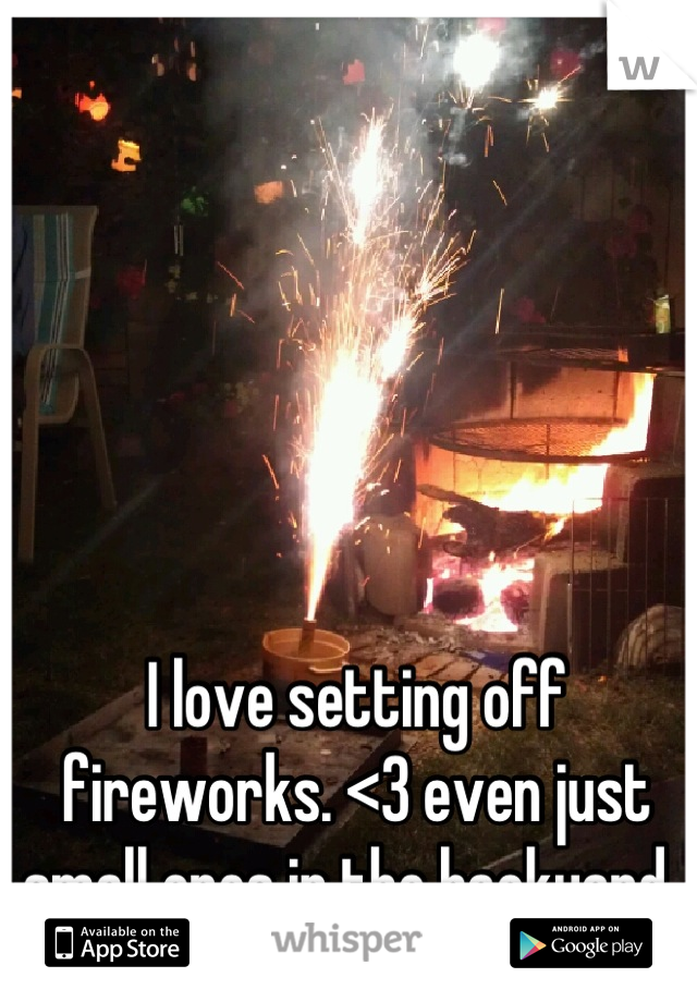 I love setting off fireworks. <3 even just small ones in the backyard.