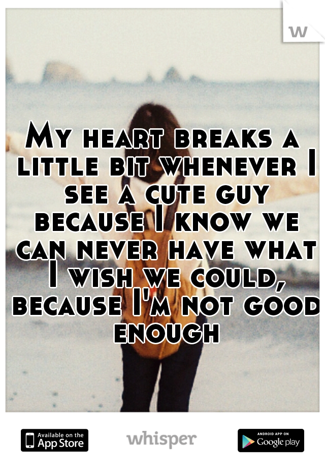 My heart breaks a little bit whenever I see a cute guy because I know we can never have what I wish we could, because I'm not good enough