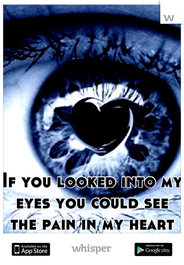 If you looked into my eyes you could see the pain in my heart