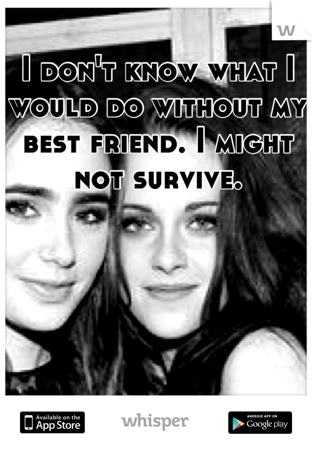 I don't know what I would do without my best friend. I might not survive.