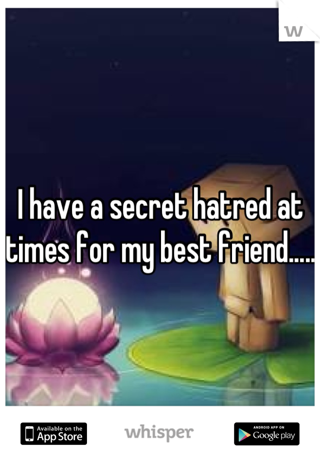 I have a secret hatred at times for my best friend.....