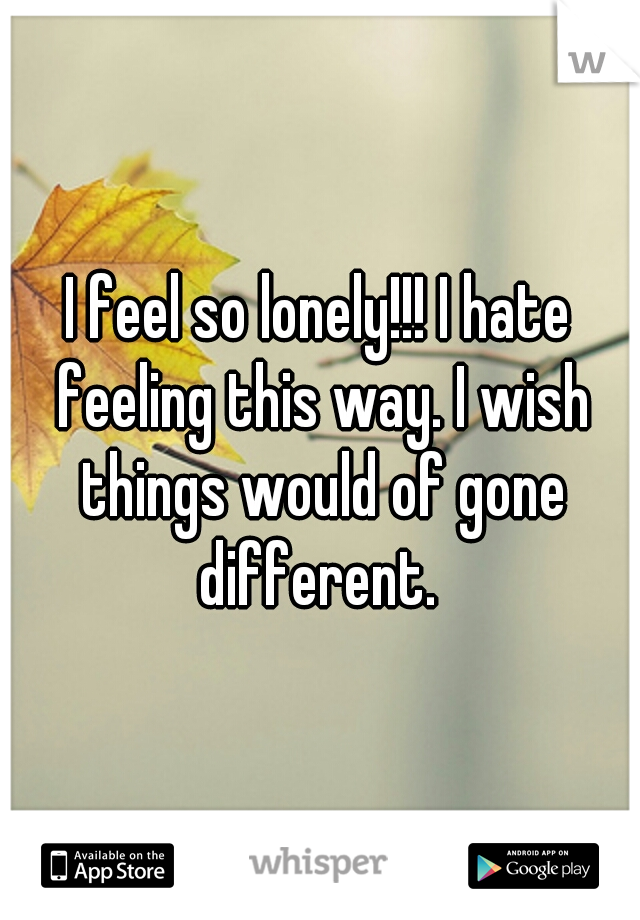 I feel so lonely!!! I hate feeling this way. I wish things would of gone different.