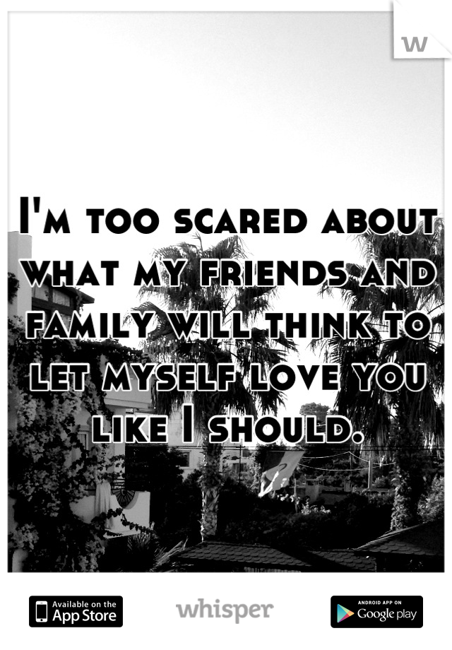 I'm too scared about what my friends and family will think to let myself love you like I should.