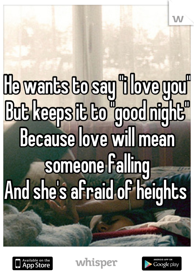 """He wants to say """"i love you"""" But keeps it to """"good night"""" Because love will mean someone falling And she's afraid of heights"""