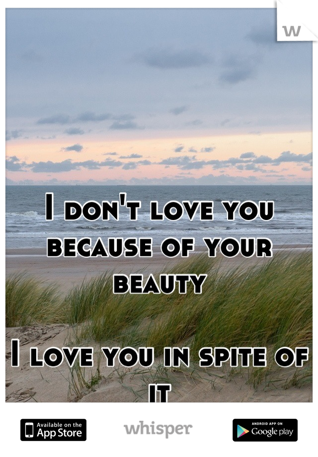 I don't love you because of your beauty  I love you in spite of it