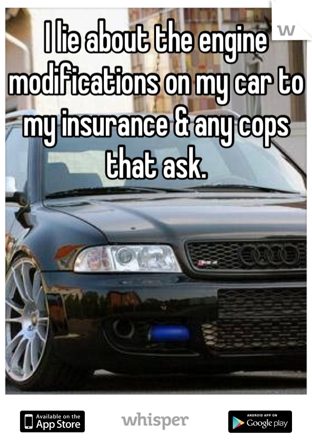 I lie about the engine modifications on my car to my insurance & any cops that ask.