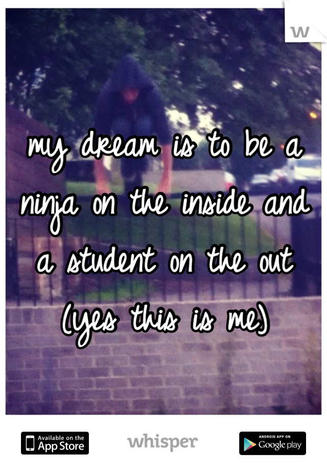 my dream is to be a ninja on the inside and a student on the out (yes this is me)