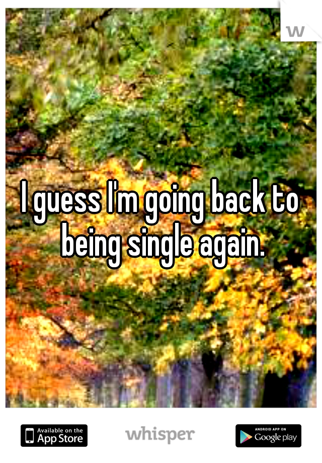 I guess I'm going back to being single again.