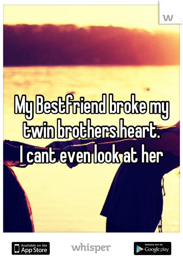 My Bestfriend broke my twin brothers heart.  I cant even look at her