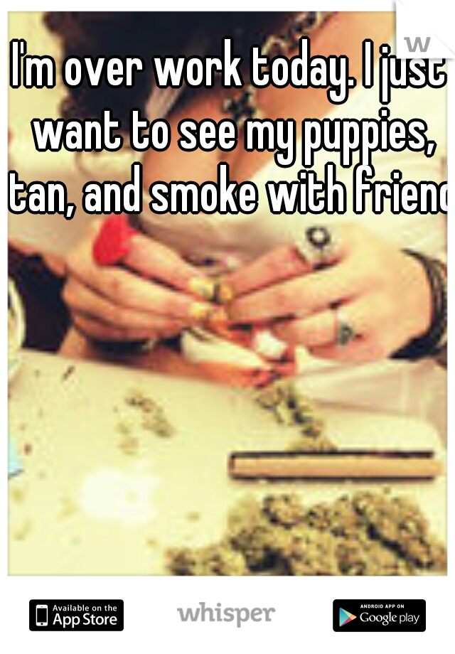 I'm over work today. I just want to see my puppies, tan, and smoke with friends