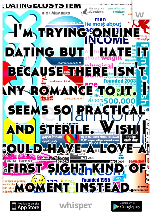 I'm trying online dating but I hate it because there isn't any romance to it. It seems so practical and sterile. Wish I could have a love at first sight kind of moment instead.