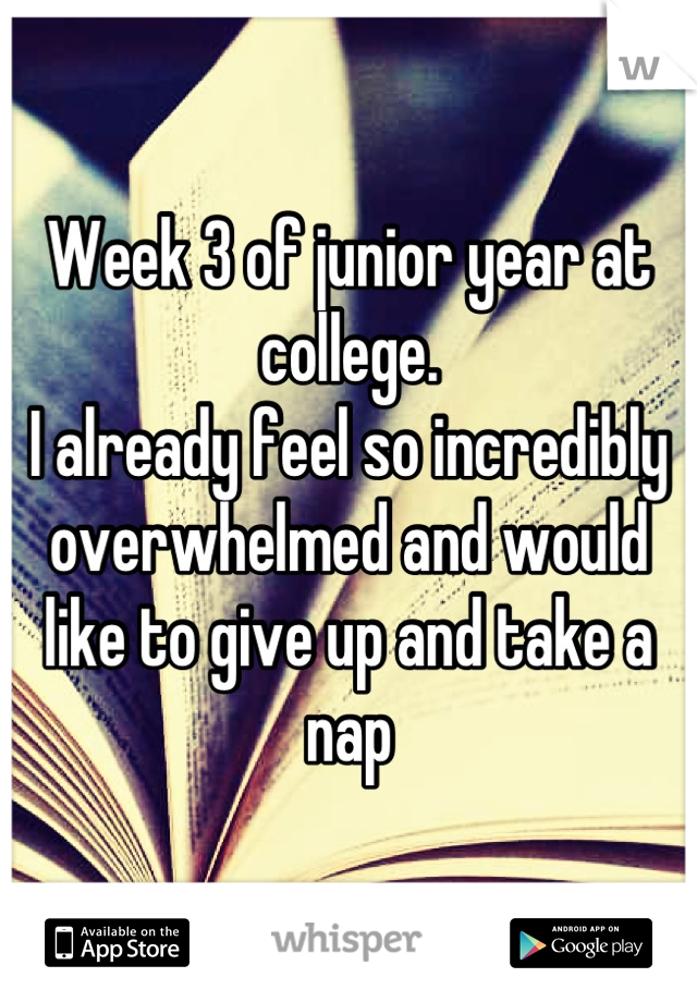 Week 3 of junior year at college. I already feel so incredibly overwhelmed and would like to give up and take a nap
