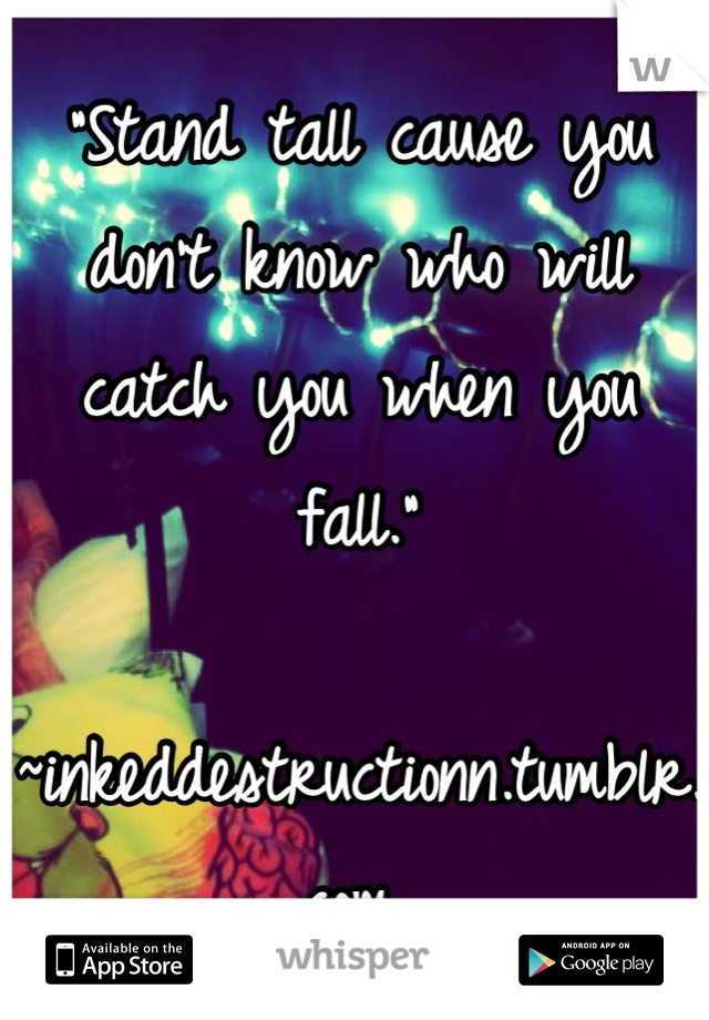 """Stand tall cause you don't know who will catch you when you fall.""  ~inkeddestructionn.tumblr.com❤"