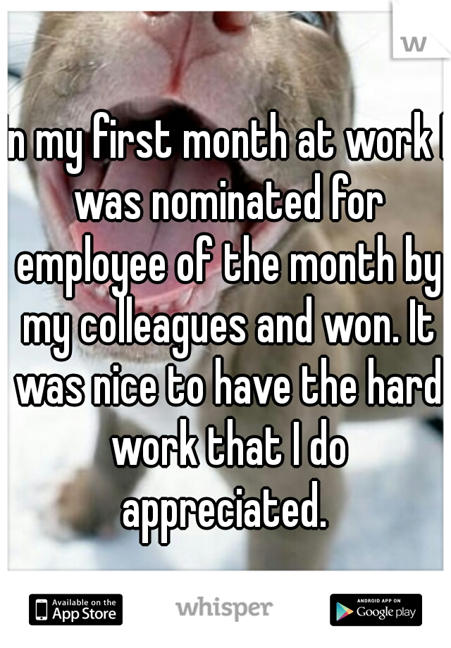In my first month at work I was nominated for employee of the month by my colleagues and won. It was nice to have the hard work that I do appreciated.