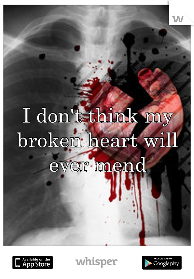 I don't think my broken heart will ever mend