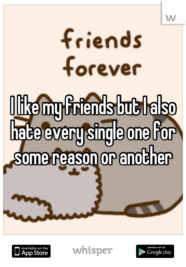 I like my friends but I also hate every single one for some reason or another