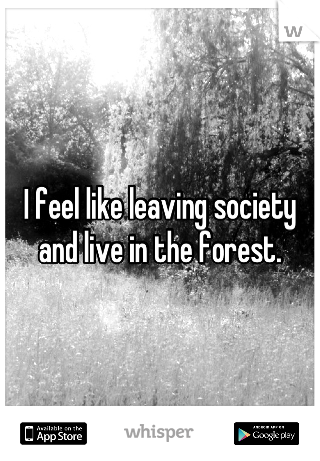 I feel like leaving society and live in the forest.