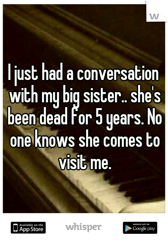 I just had a conversation with my big sister.. she's been dead for 5 years. No one knows she comes to visit me.