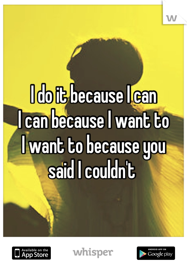 I do it because I can  I can because I want to I want to because you  said I couldn't