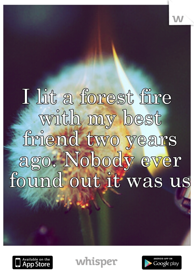 I lit a forest fire with my best friend two years ago. Nobody ever found out it was us.