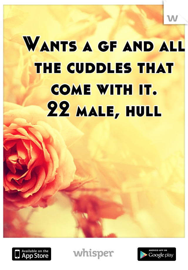 Wants a gf and all the cuddles that come with it. 22 male, hull