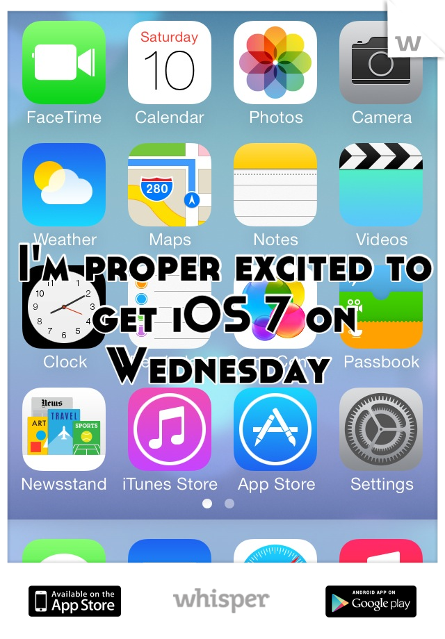 I'm proper excited to get iOS 7 on Wednesday