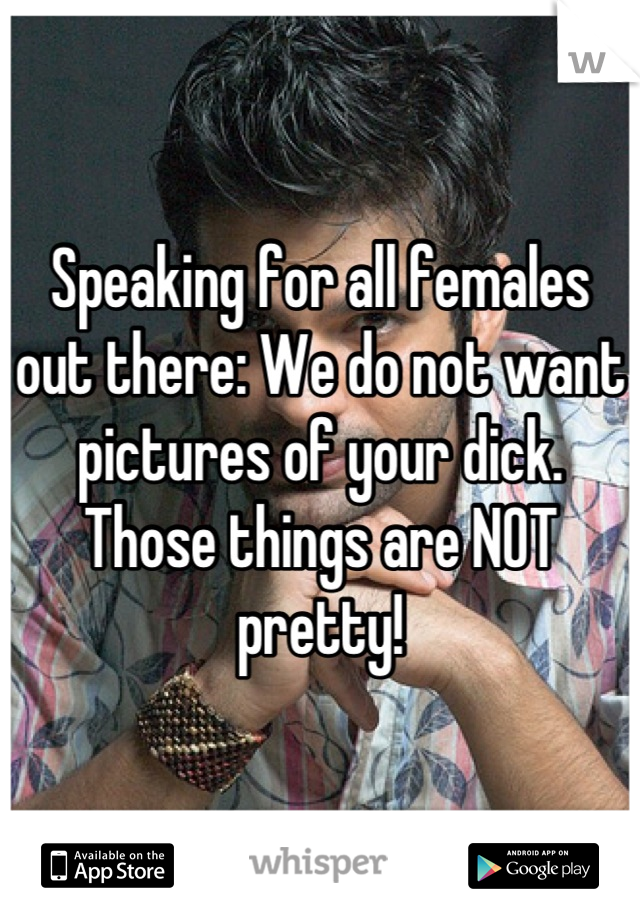 Speaking for all females out there: We do not want pictures of your dick. Those things are NOT pretty!