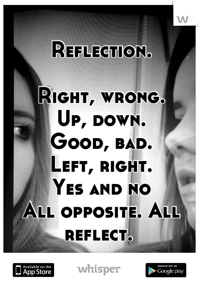 Reflection.  Right, wrong. Up, down. Good, bad.  Left, right. Yes and no All opposite. All reflect.