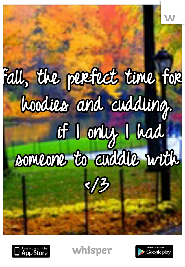 fall, the perfect time for hoodies and cuddling.    if I only I had someone to cuddle with </3