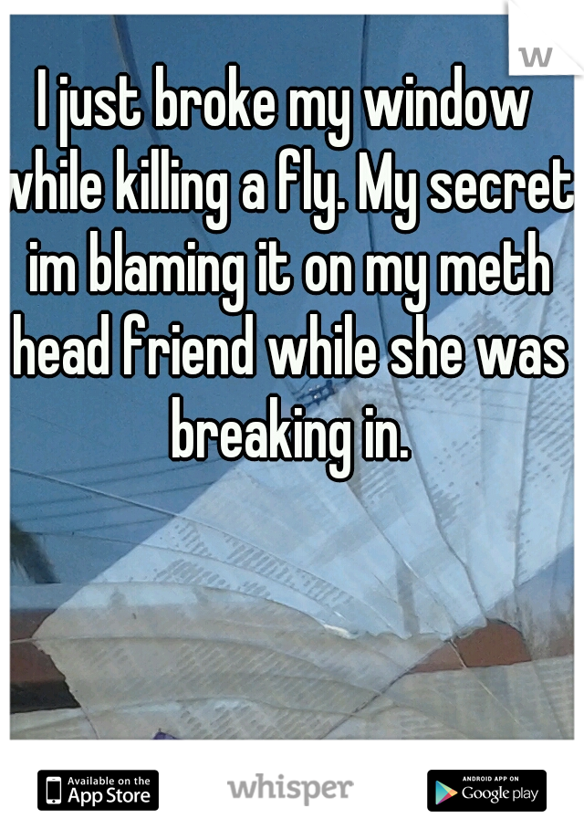 I just broke my window while killing a fly. My secret: im blaming it on my meth head friend while she was breaking in.