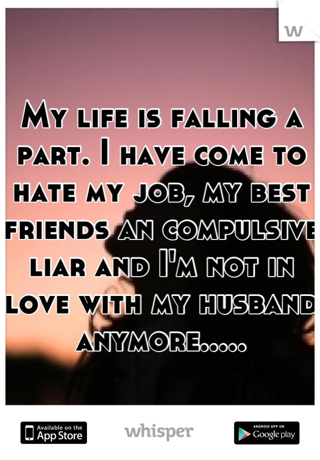 My life is falling a part. I have come to hate my job, my best friends an compulsive liar and I'm not in love with my husband anymore.....