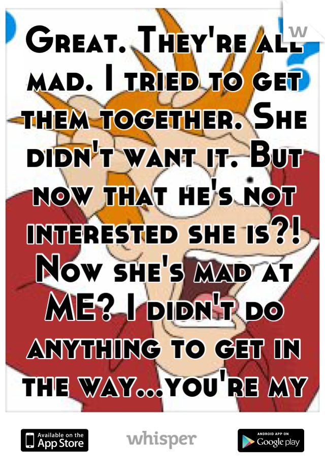 Great. They're all mad. I tried to get them together. She didn't want it. But now that he's not interested she is?! Now she's mad at ME? I didn't do anything to get in the way...you're my friend.