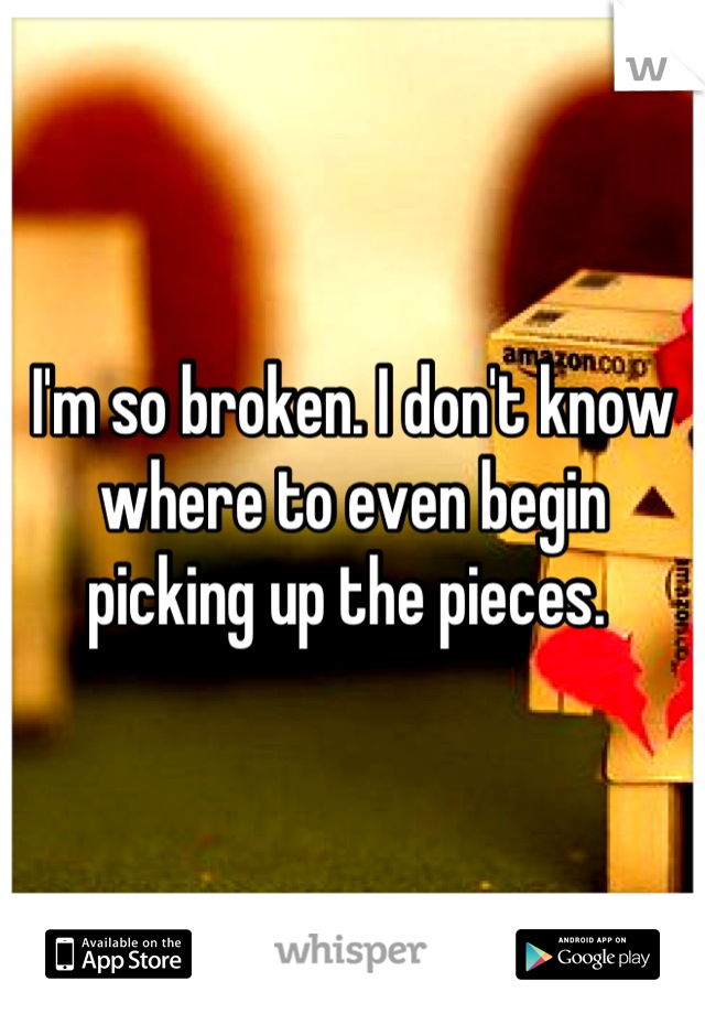 I'm so broken. I don't know where to even begin picking up the pieces.