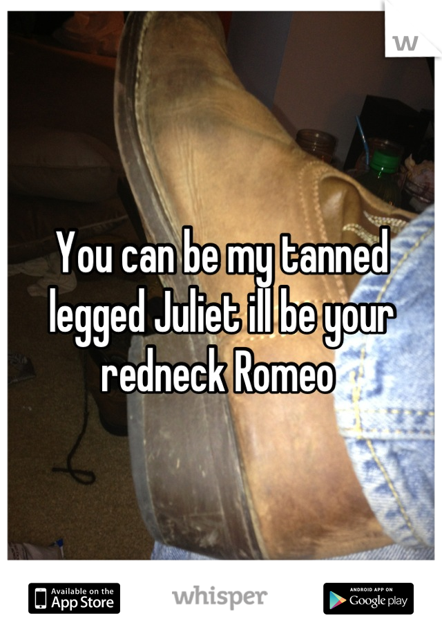 You can be my tanned legged Juliet ill be your redneck Romeo