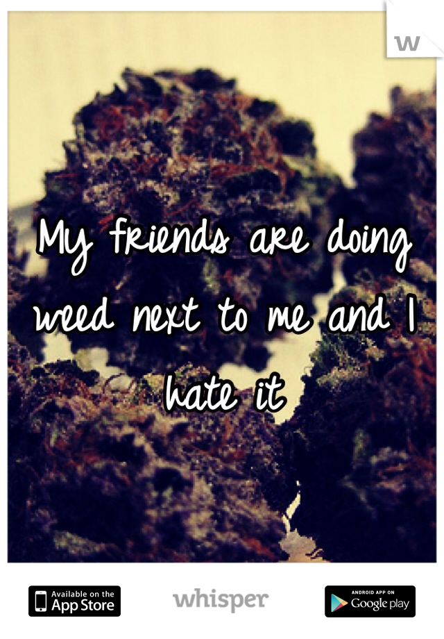 My friends are doing weed next to me and I hate it