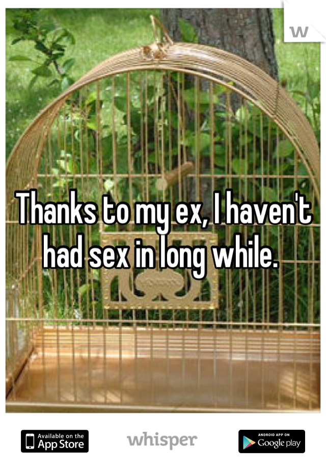 Thanks to my ex, I haven't had sex in long while.