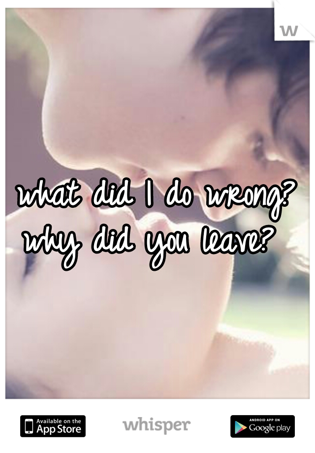 what did I do wrong? why did you leave?