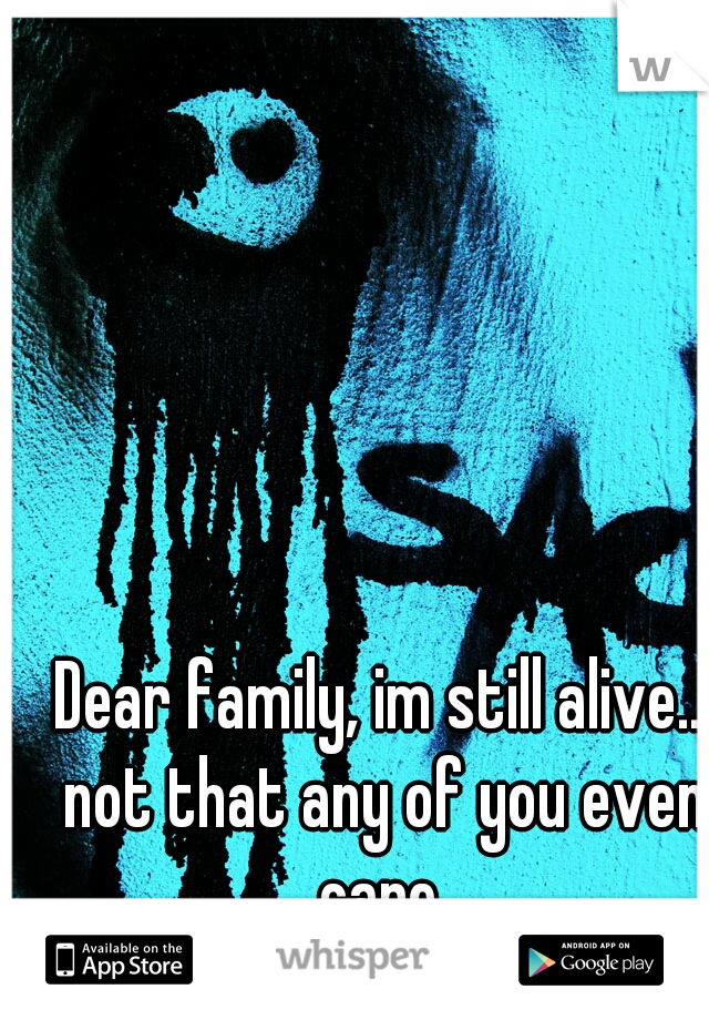 Dear family, im still alive.. not that any of you even care.