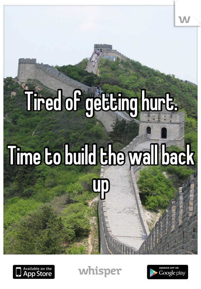 Tired of getting hurt.  Time to build the wall back up