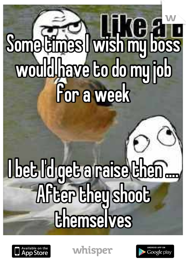 Some times I wish my boss would have to do my job for a week    I bet I'd get a raise then .... After they shoot themselves