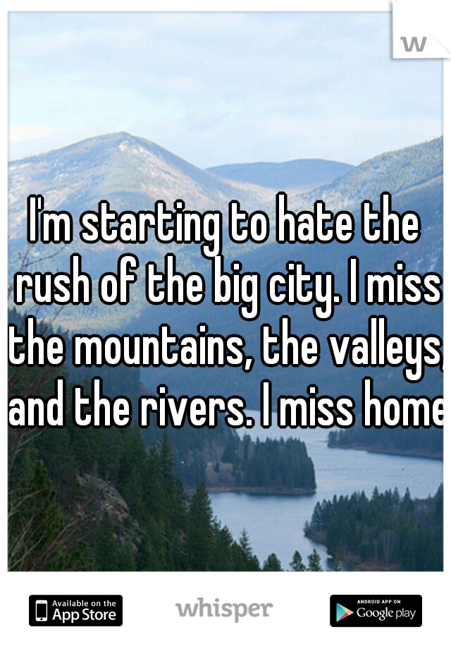 I'm starting to hate the rush of the big city. I miss the mountains, the valleys, and the rivers. I miss home