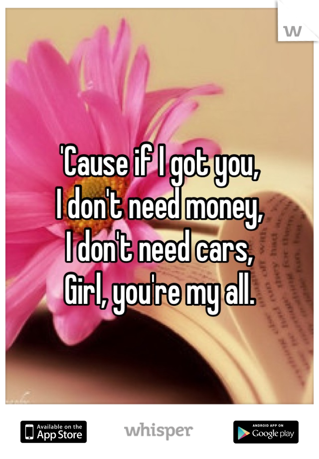 'Cause if I got you, I don't need money, I don't need cars, Girl, you're my all.