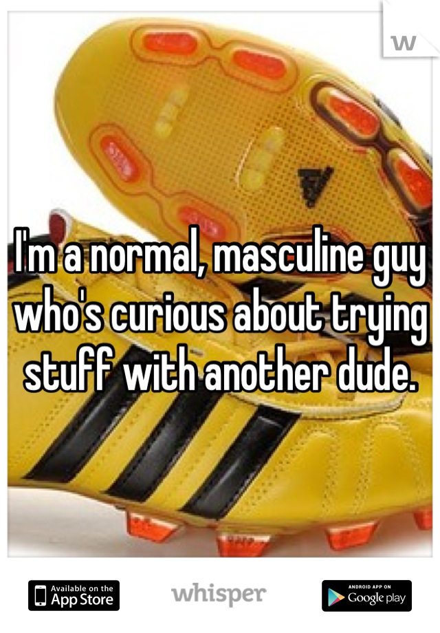 I'm a normal, masculine guy who's curious about trying stuff with another dude.