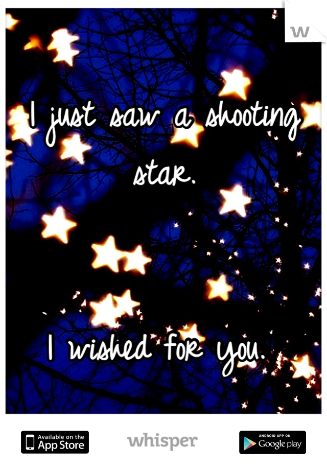 I just saw a shooting star.   I wished for you.