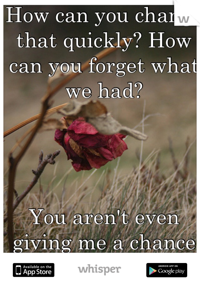 How can you change that quickly? How can you forget what we had?      You aren't even giving me a chance to fix it..