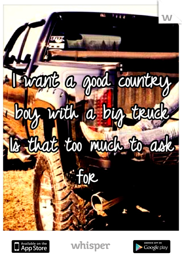 I want a good country boy with a big truck Is that too much to ask for