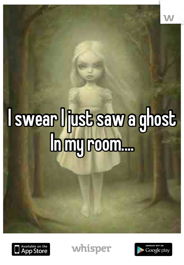 I swear I just saw a ghost In my room....